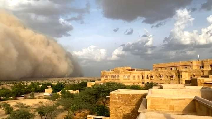 A sand storm covered Suryagarh Palace where Gehlot camp MLAs r camping on Wednesday.