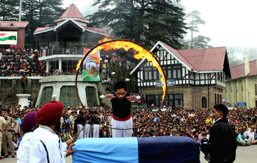 A school children performs on the occasion of 69th ``Independence Day`` celebration in Shimla on August 15, 2015.