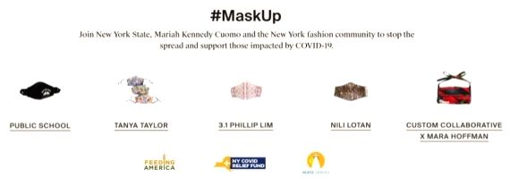 A screengrab from the website of The RealReal on Oct. 26, 2020 shows some types of the fashion masks currently on sale in support of the #MaskUp campaign.