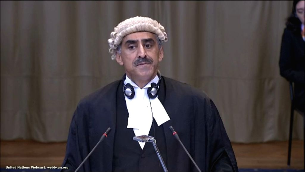 A screengrab of QC Khawar Qureshi as he pleads at the International Court of Justice from Pakistan's side during a public hearing in the case of Kulbhushan Jadhav, the alleged Indian spy sentenced to death by a Pakistani military court in The Hague,