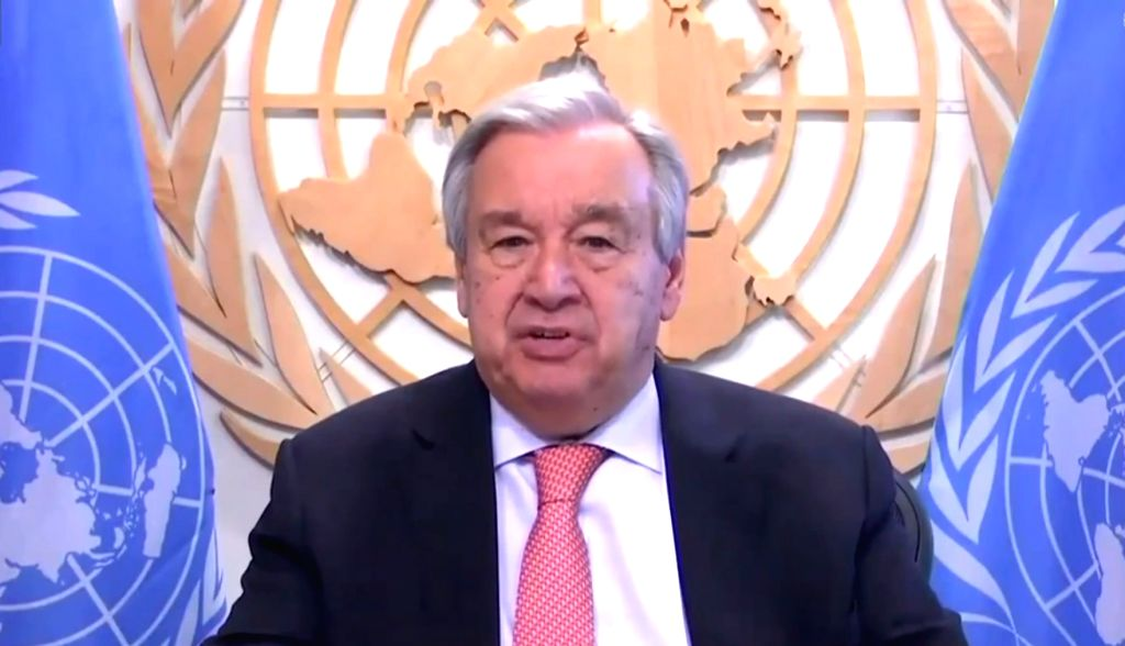 A screenshot taken at the UN headquarters in New York, on June 25, 2020, shows United Nations Secretary-General Antonio Guterres speaking at a virtual press ...