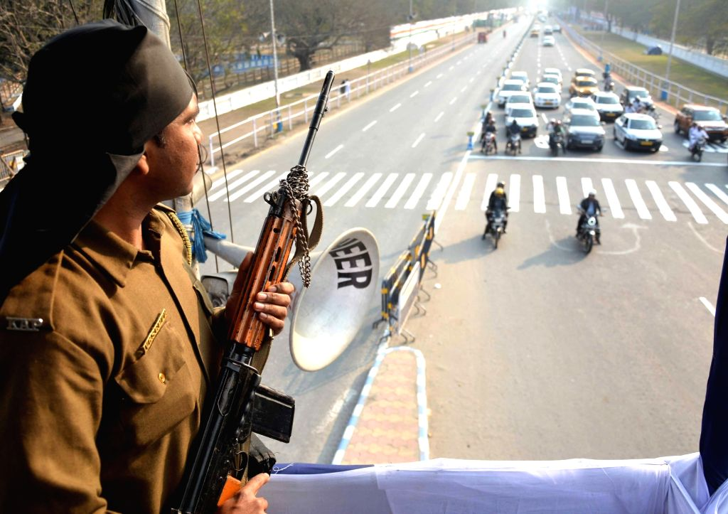 A security personnel keeps vigil on the eve of 2019 Republic Day celebrations in Kolkata, on Jan 25, 2019.