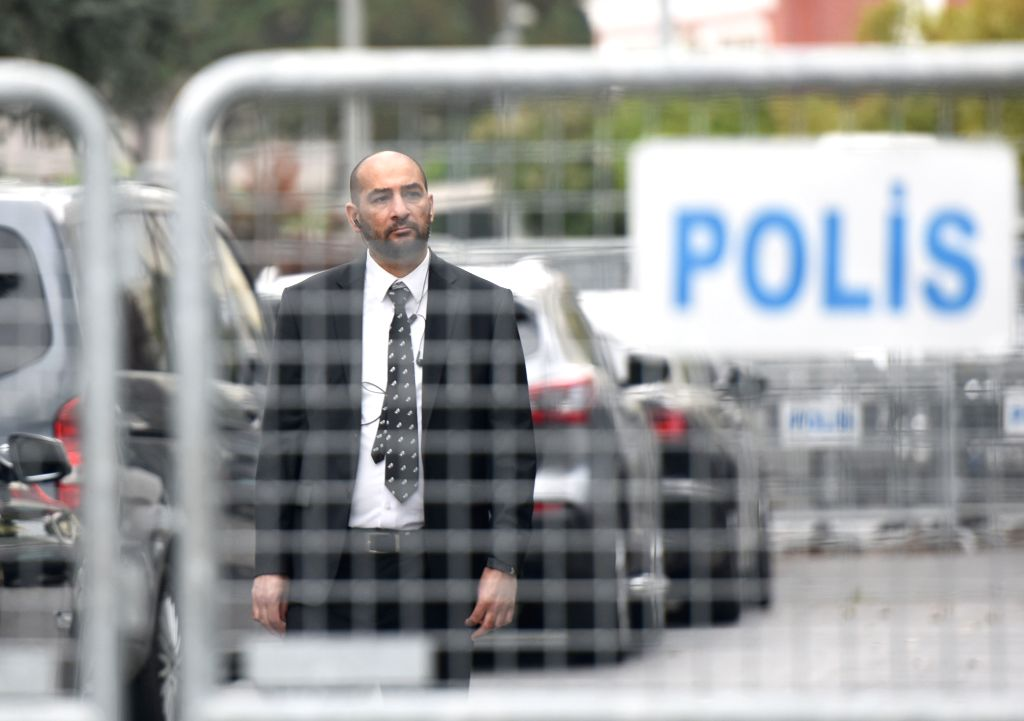 : A security staff stands guard outside the Saudi consulate in Istanbul, Turkey, on Oct. 20, 2018. Preliminary investigations by the Saudi Public Prosecution ...