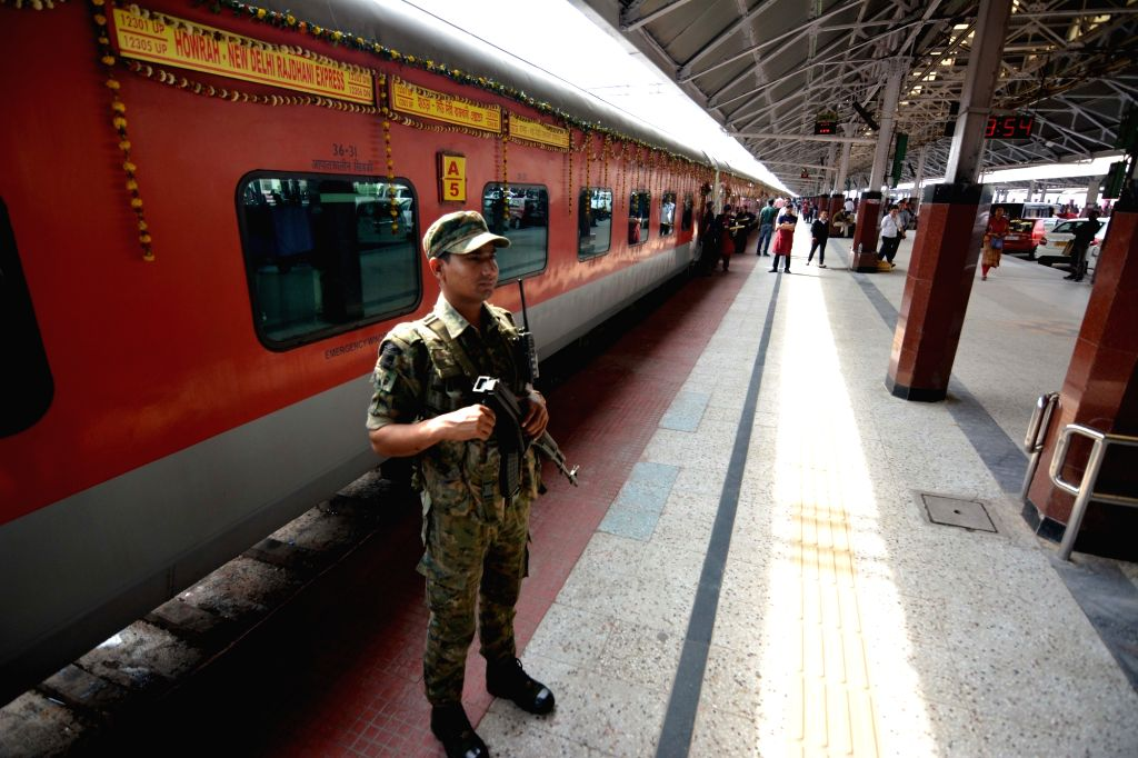 A security stand guard at Howrah Railway Station during 50 years celebrations of Howrah Rajdhani Express, in Howrah, on March 3, 2019.