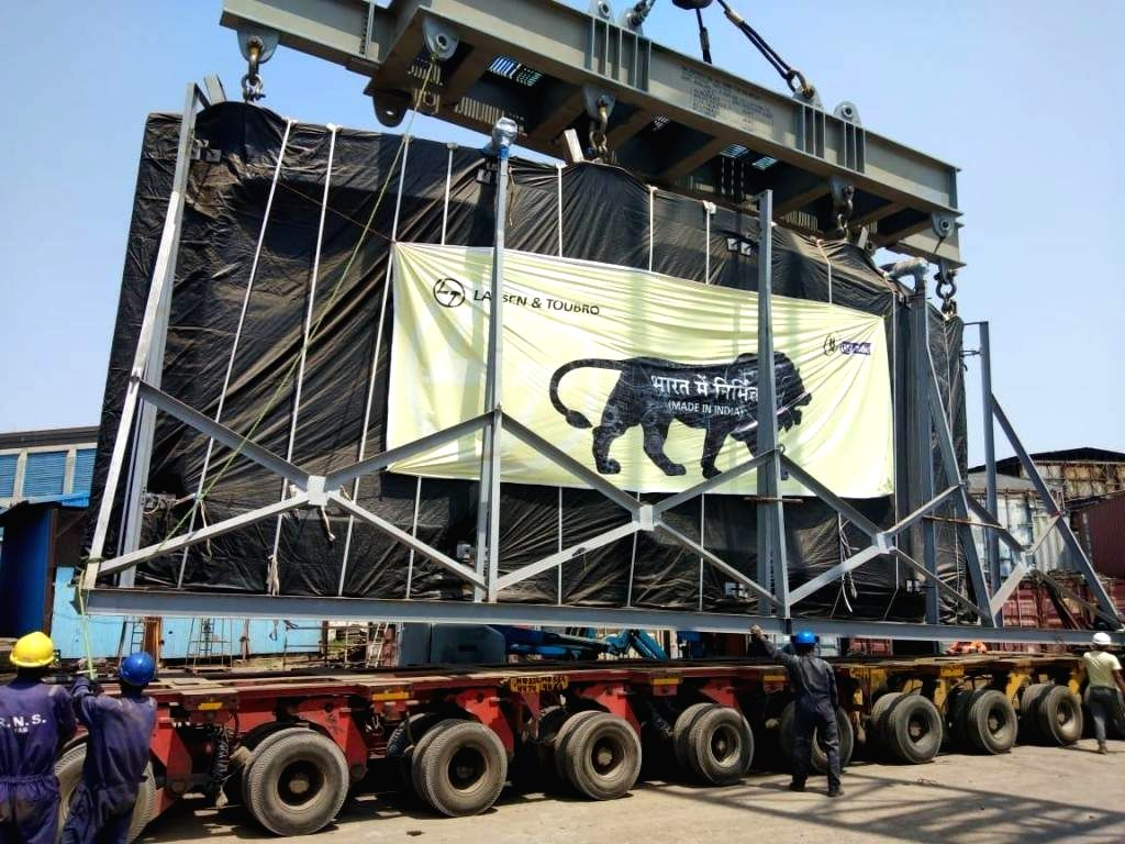 A segment of the cryostat upper cylinder leaves the Larsen & Toubro factory in Hazira in India for the port.