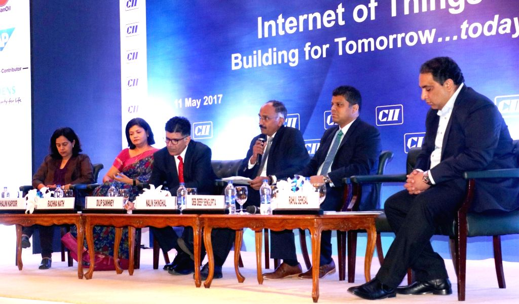 "A seminar on ""Internet of Things building for Tomorrow...today"" organised by CII underway in New Delhi on May 11, 2017."