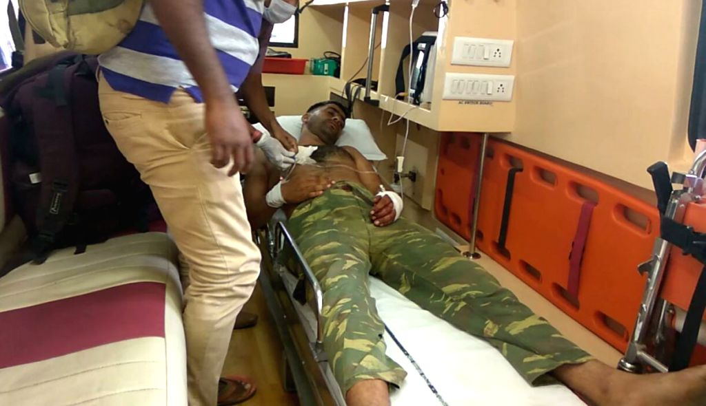 A seriously injured CRPF jawan airlifted to Raipur for urgent medical attention.