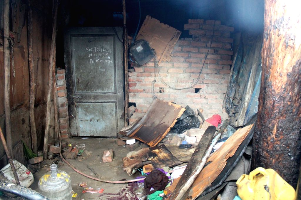 A shanty in West Delhi's Moti Nagar area where a cylinder exploded, injuring five persons including a 5-year-old girl, on July 17, 2019. According to a fire official, six fire tenders were ...