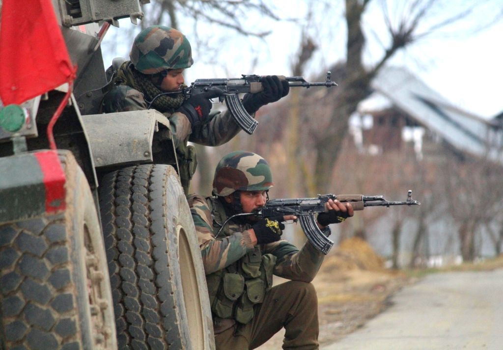 A soldier at the site of encounter between security personnel and militants in which militant was killed in Kralgund village of Jammu and Kashmir's Kupwara district, on March 7, 2019.