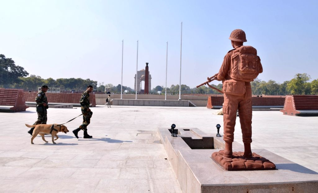 A soldier statue at the 'National War Memorial' near India Gate which will be inaugurated by Prime Minister Narendra Modi on February 25, in New Delhi, on Feb 24, 2019. - Narendra Modi