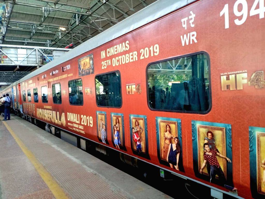 """A special promotional train travelling from Mumbai to Delhi as part of 'Housefull4Express' rail journey during """"Housefull 4"""" promotions, at Borivali railway station in Mumbai on Oct ..."""