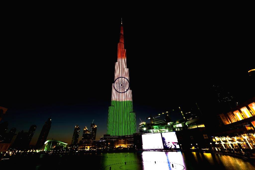 A spectacular LED illumination of the Indian National flag on BurjKhalifa on the eve of 68th Republic Day in Dubai, United Arab Emirates. (Photo Courtesy: Burj Khalifa/Twitter)