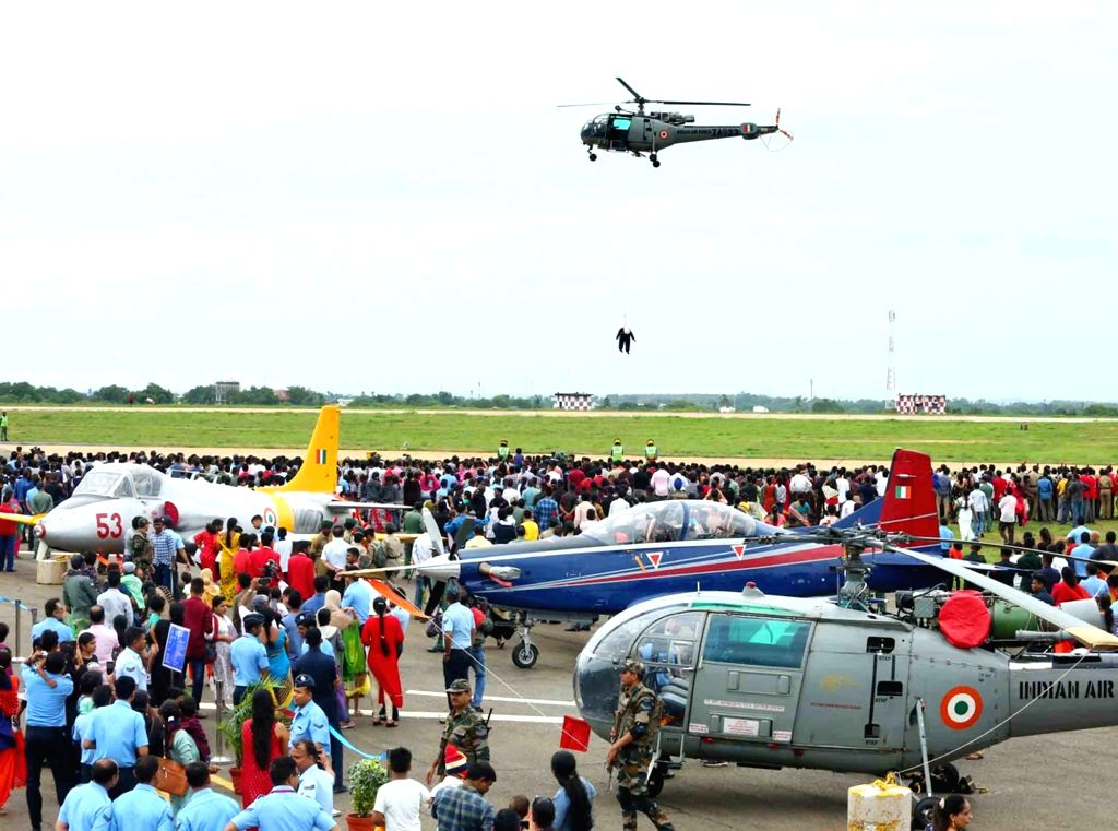 A static display of aircraft and equipment during an air show organised to commemorate 20th Anniversary of Kargil Vijay Diwas at the Indian Air Force Station in Hakeempet, Hyderabad on ...