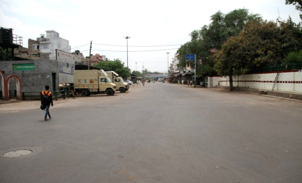 A street adjoining Delhi's Azadpur Subzi Mandi bears a desrted look during the extended nationwide lockdown imposed to mitigate the spread of coronavirus; on Apr 23, 2020.