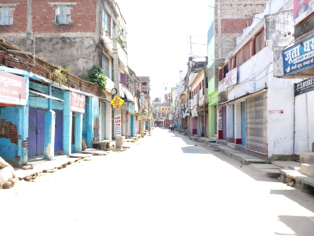 A street in Bihar's Jamui bears a deserted look on Day 2 of the 21-day nationwide lockdown imposed by the Narendra Modi government over the coronavirus pandemic; on March 26, 2020. - Narendra Modi