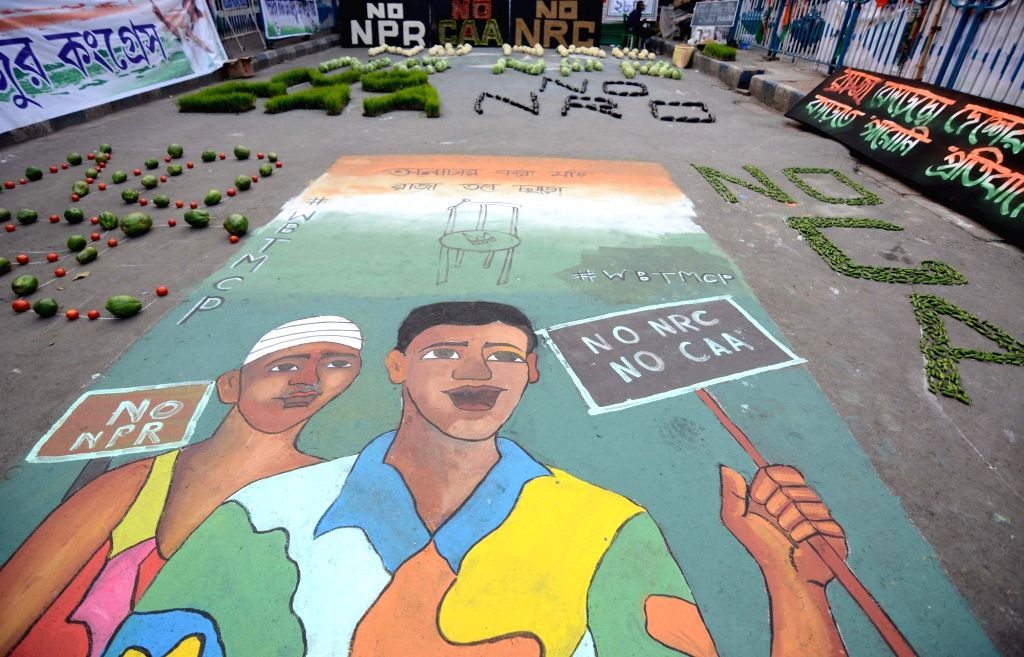 A street painting made by protesters during a demonstration against the Citizenship Amendment Act (CAA) 2019, National Register of Citizens (NRC) and National Population Register (NPR) ...