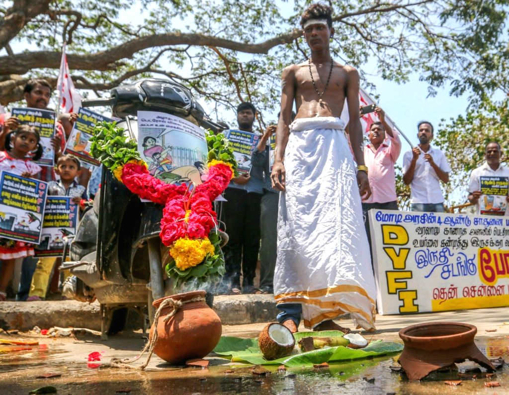 A student activist participates in a demonstration over hike in the prices of petrol and diesel, in Chennai on June 5, 2018.