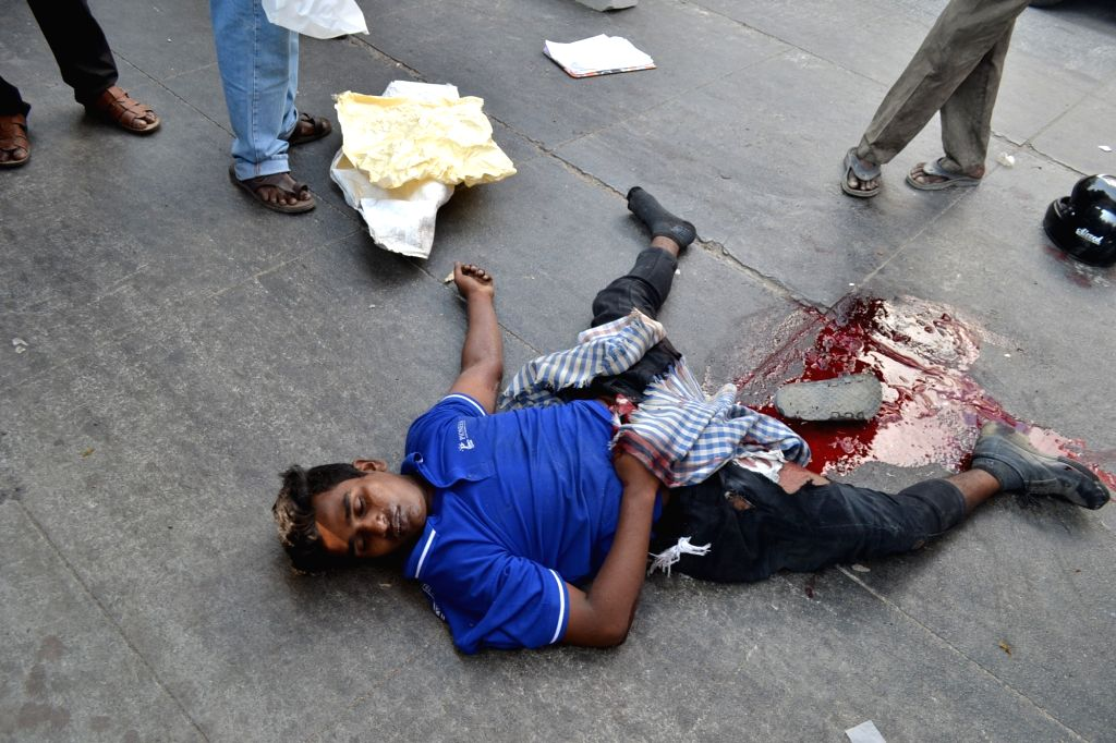 A student was dead on the spot and another injured after a lorry rammed into their bike here at RTC crossroads in Hyderabad on Feb 7, 2020.