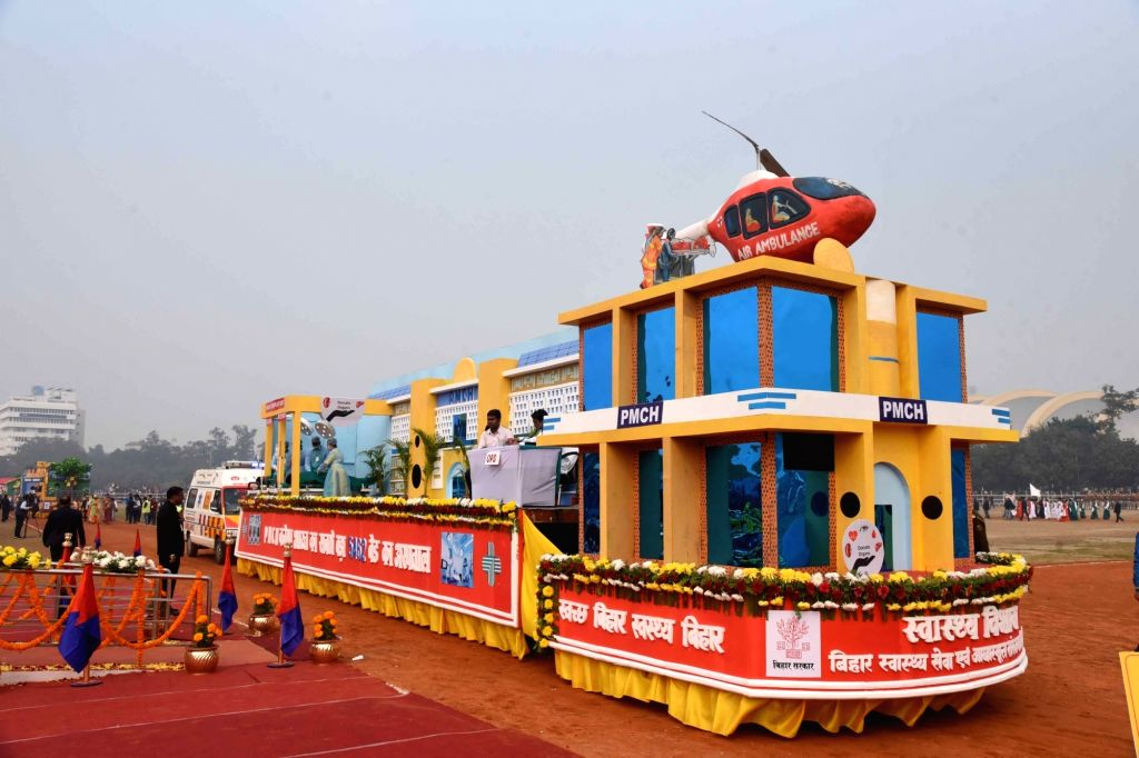 A tableau of Bihar's Health Department passes through Gandhi Maidan during the 71st Republic Day parade in Patna on Jan 26, 2020.