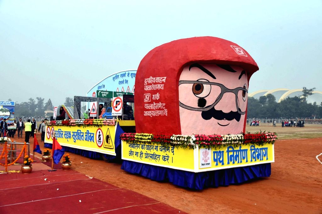 A tableau of Bihar's Road Construction Deptt. passes through Gandhi Maidan during the 71st Republic Day parade in Patna on Jan 26, 2020.