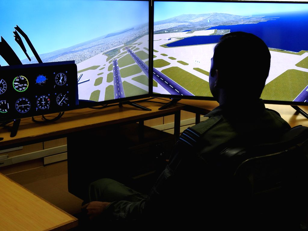 A test pilot at the flight simulator of the ASTE in Bengaluru.