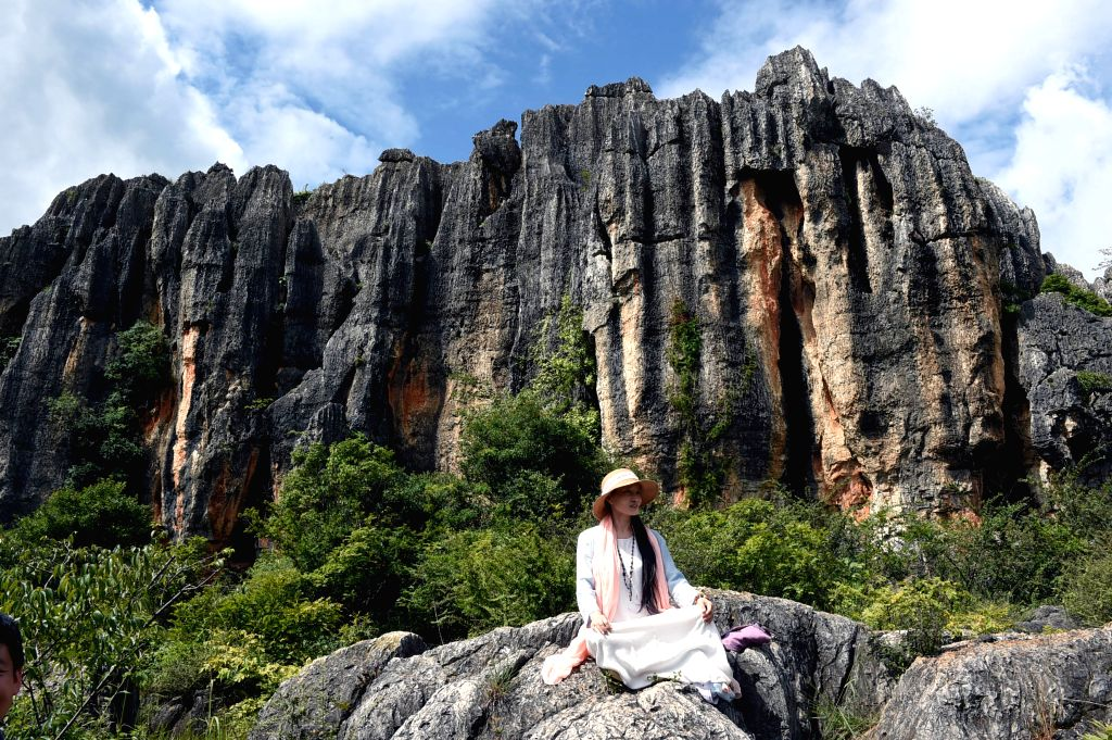 A tourist enjoys landscape at the scenic area of Stone Forest in Shilin County, southwest China's Yunnan Province, Aug. 7, 2015.