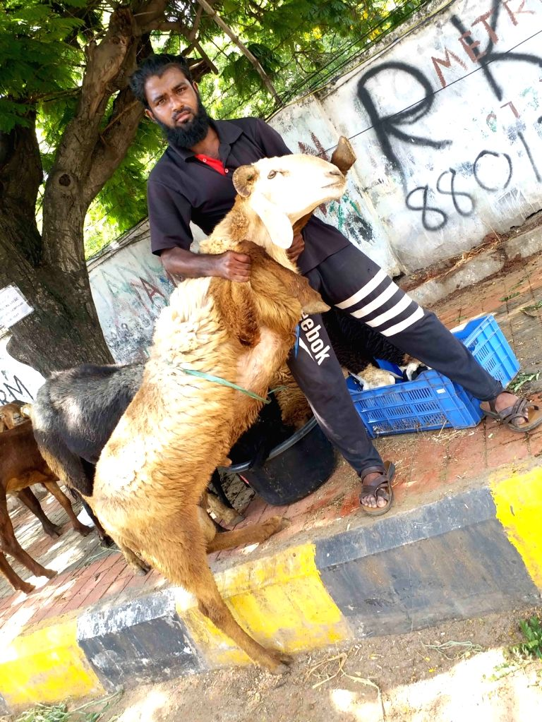 A trader with his goat at a livestock market ahead of Eid-Ul-Adha celebrations, in Hyderabad on July 30, 2020.