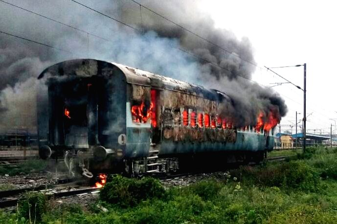 A train's coach catches fire at Sonpur Railway station, Bihar on Aug 3, 2017.