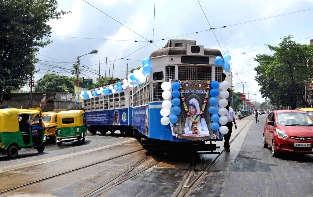 A tram decorated to pay tribute to Saint Teresa of Calcutta in Kolkata on Sept 18, 2016.