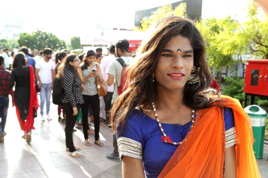 "A transgender artiste at the ""7th Hijra Habba"" programme, in New Delhi on Sept 11, 2018."