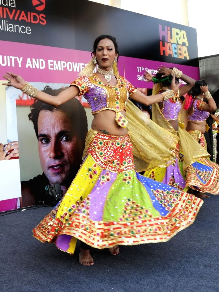 """A transgender artiste performs during the """"7th Hijra Habba"""" programme, in New Delhi on Sept 11, 2018."""