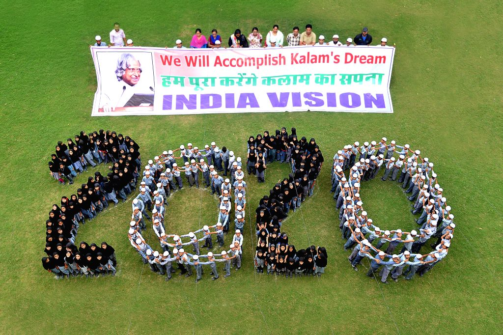 A tribute to former president Dr. APJ Abdul Kalam by Create Vision India 2020 through Human Chain and Posters at Maulana Abul Kalam Azad School in Jodhpur on August 1, 2015.