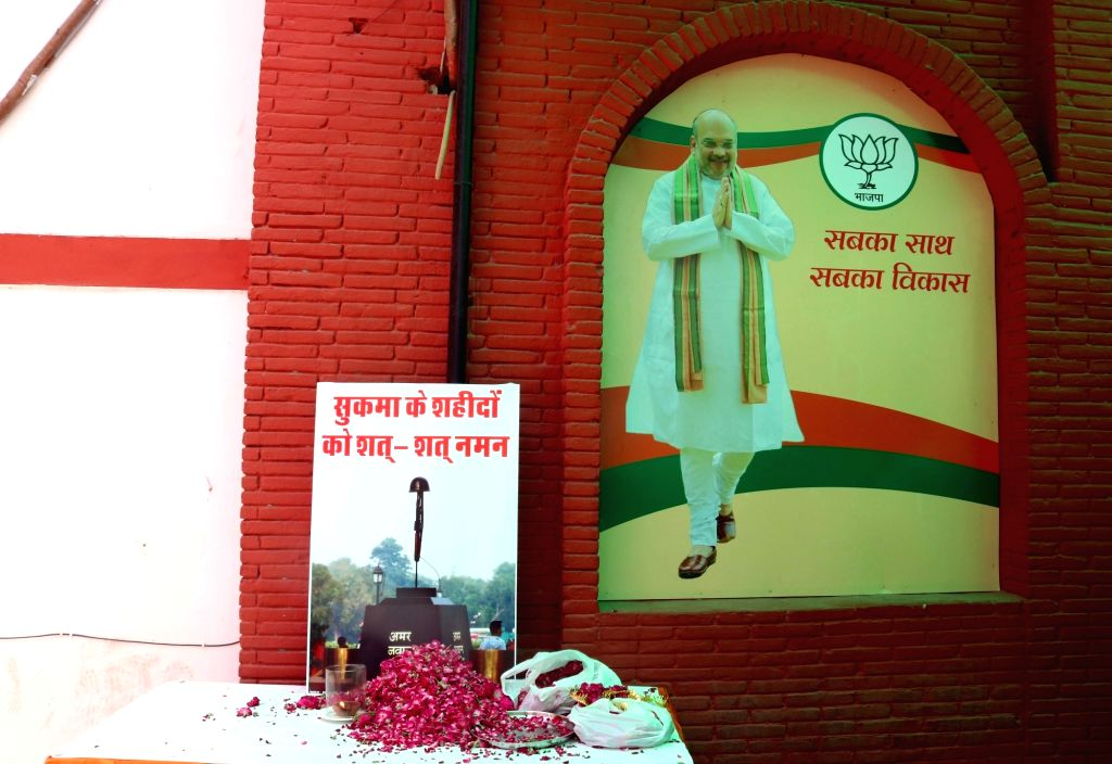 A tribute to martyrs of Sukma at Delhi BJP office in New Delhi, on April 25, 2017.