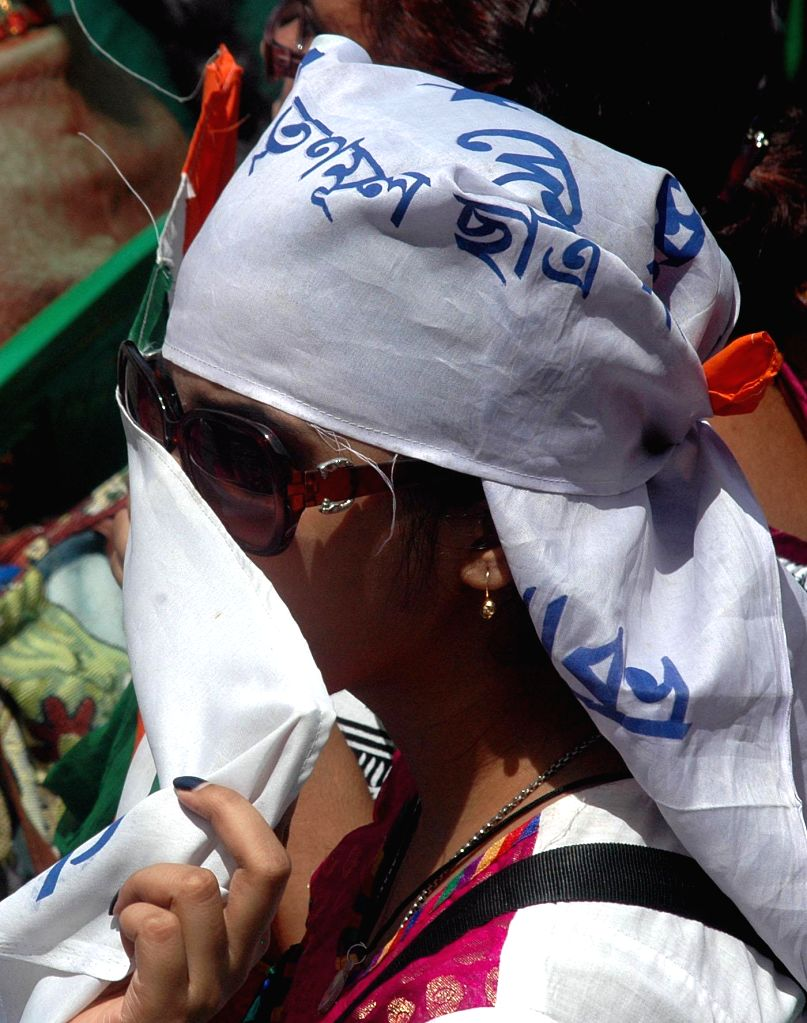 A Trinamool Congress Chhatra Parishad activist during a programme organised on the foundation day of the party in Kolkata on Aug 28, 2014.