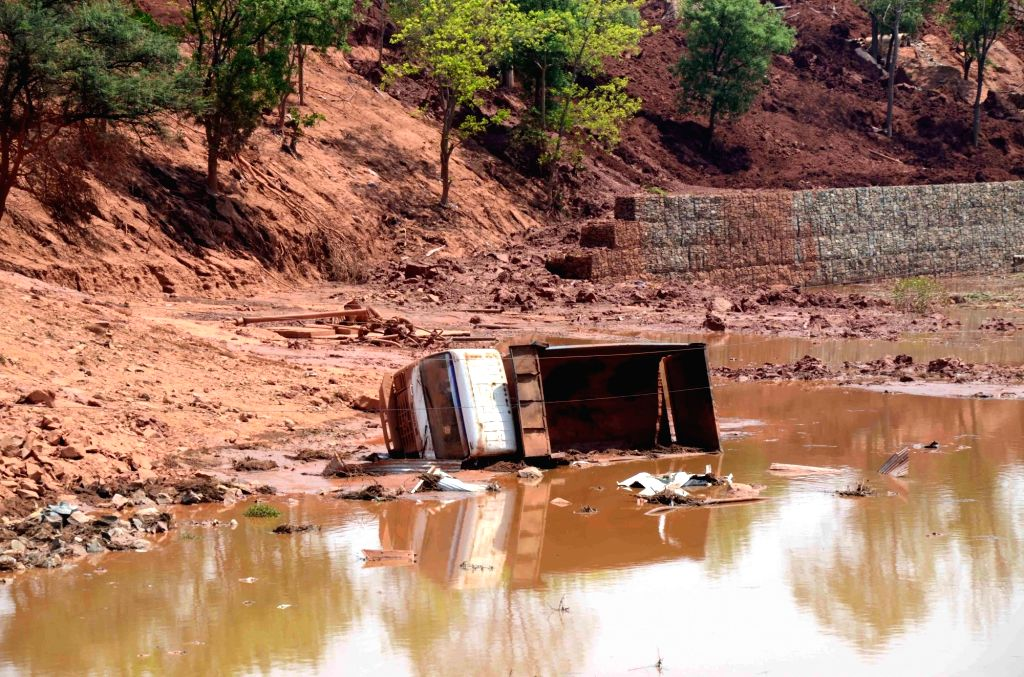 A truck at the site where four persons were injured after the caustic pond of Hindalco collapsed at Muri, in Jharkhand on April 10, 2019.