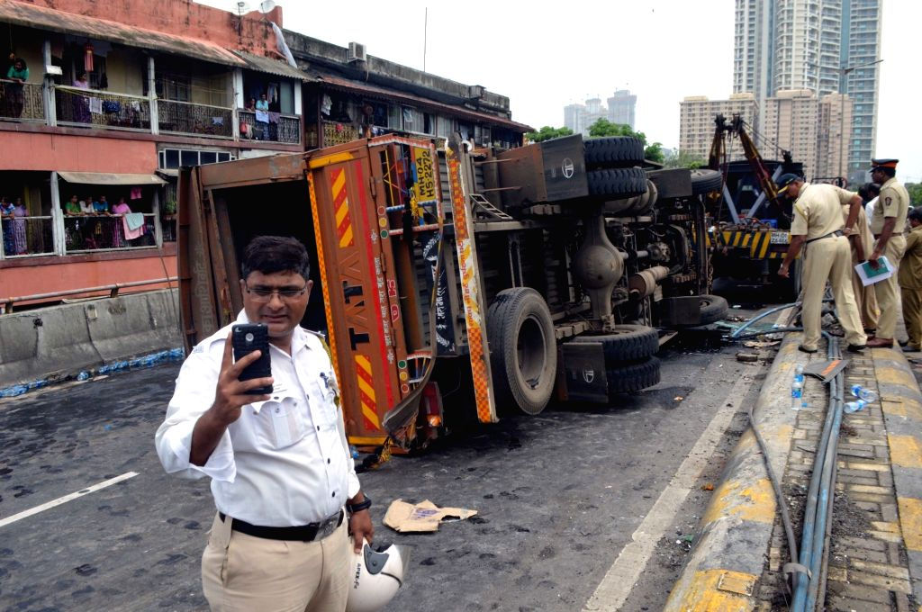 A truck that overturned on Lalbaug flyover in Mumbai on July 6, 2018.
