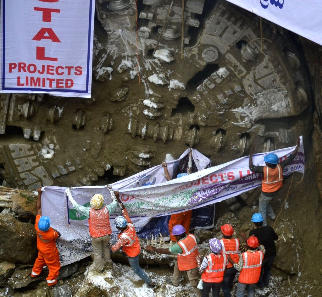 A tunnel boring machine (TBM) makes a breakthrough at Kempegowda Metro Junction in Bengaluru on Sept 23, 2016.