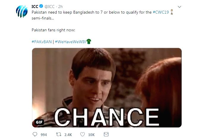 A tweet by the International Cricket Council (ICC) with regard to Pakistan's chances of making the semifinals of the World Cup on Friday has caused a bit of a stir on social media. (Photo Credit: Twitter/@ICC)