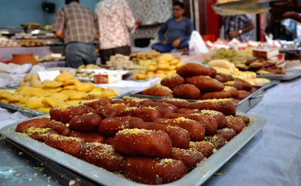 A variety of sweets on sale on the eve of Bhai Dooj, in Kolkata on Oct 28, 2019.