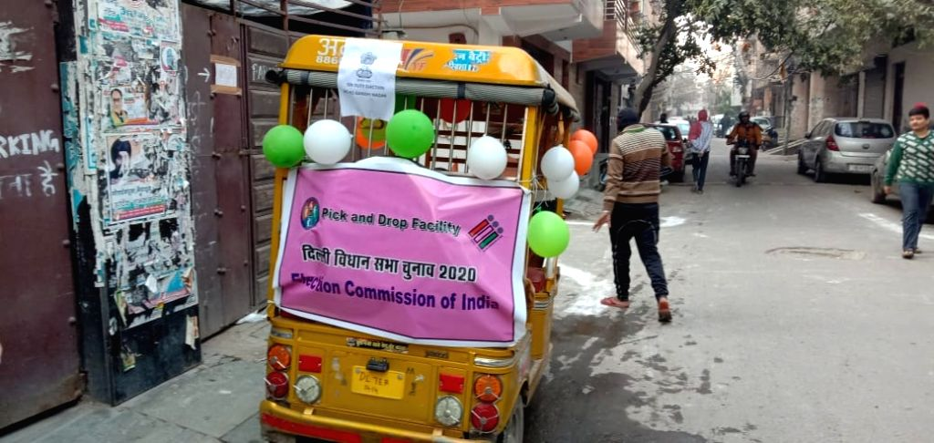 A vehicle available as part of the pick drop facility made available to the voters during Delhi Assembly elections 2020, at East Azad Nagar on Feb 8, 2020.
