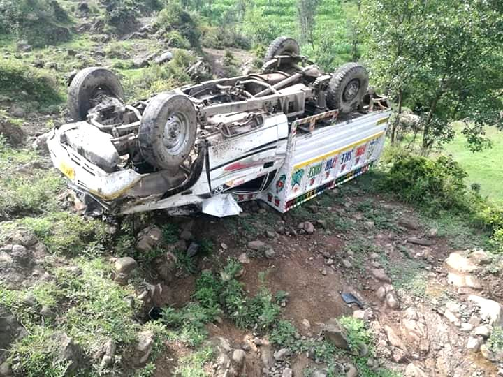 A vehicle carrying people to the Sakhi Maidan festival, skidded off the road at Saloni Uchad village in Mendhar tehsil, in Jammu and Kashmir's Poonch district, on July 18, 2019. One person ...