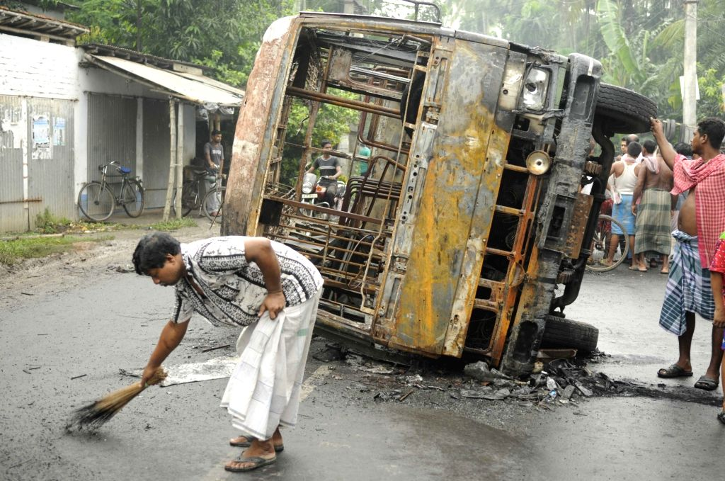 A vehicle that was torched after two groups clashed following a Facebook post in Baduria of West Bengal's of North 24 Parganas district on July 5, 2017.