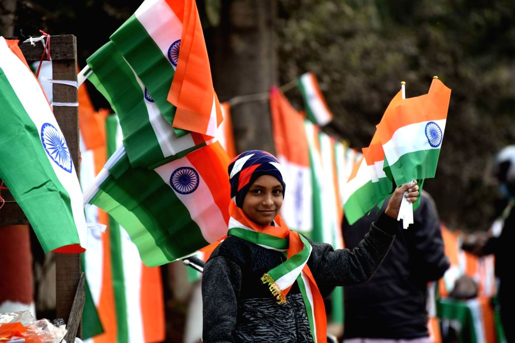 A vendor sale tricolor eve of the 72nd Republic Day,in Patna on Monday January 25, 2021