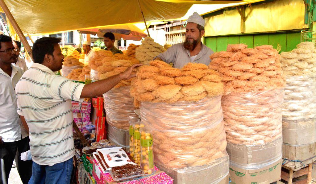 A vendor sells sawaiyan (sweet vermicelli) ahead of Eid ul-Fitr celebration in Guwahati on July 24, 2014.