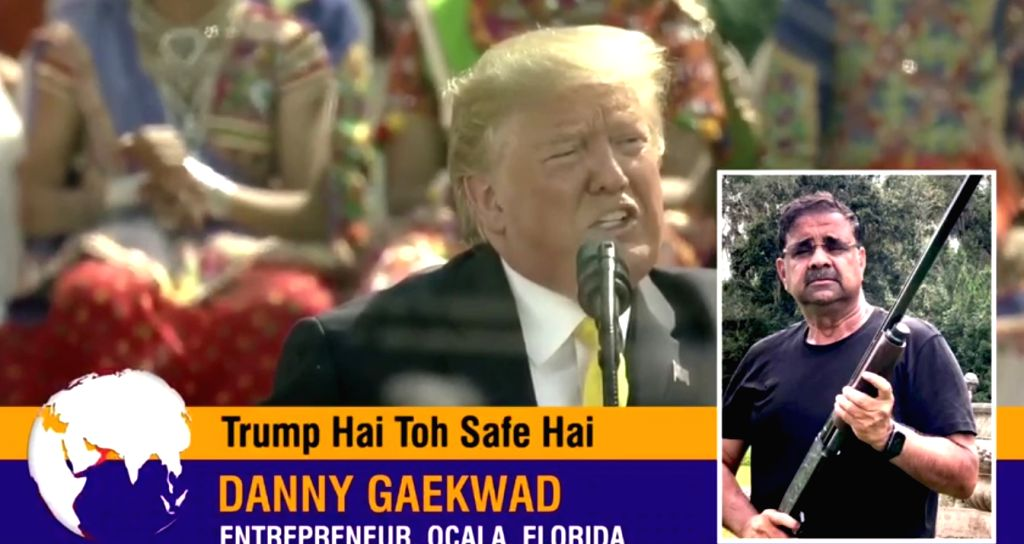 A video ad targeting Indian America voters in the United States presidential election to vote for President Donald Trump. Ad's sponsor Danny Gaekwad is in the inset.