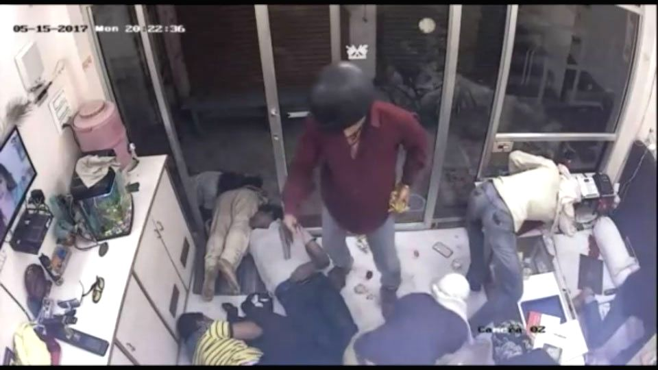A video grab of six persons shooting bullion traders in Mathura before escaping with gold worth Rs 4 crore on May 15, 2017.