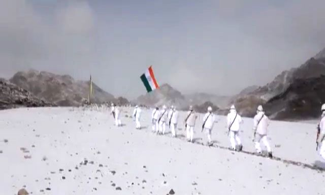 A video of Indo-Tibetan Border Police (ITBP) personnel is doing the rounds on the Internet with the national flag celebrating Republic Day at 17000 feet in snow today. The temperature in Ladakh at ...