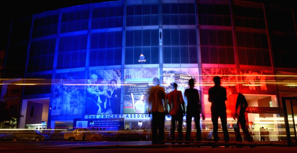 A view an illuminated Eden Garden in the colors of the French flag to pay tribute to the victims of Paris terror attack, in Kolkata, on Nov 21, 2015.