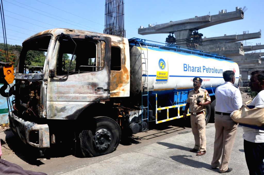 A view of a BPCL tanker with 20,000 litre diesel which caught fire on Western Express Highway flyover, while proceeding from Goregaon to Borovali, in Mumbai on May 27, 2019.