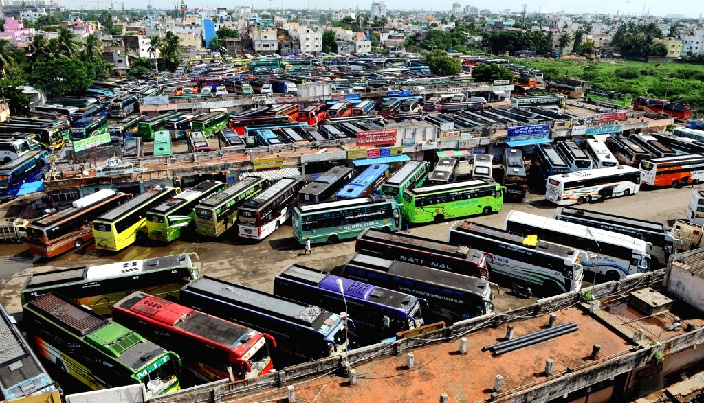 A view of a bus stand during a strike called to protest against release of Cauvery river water to Tamil Nadu in Chennai on Sept 16, 2016.